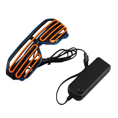73JohnPol Einfach zu tragen Reiten LED-Brille leuchten Shades blinkende Rave für Hochzeitsfeier Indoor Outdoor Night Shows Aktivitäten (Farbe: Blau & Orange) (Show Orange Rave Halloween)