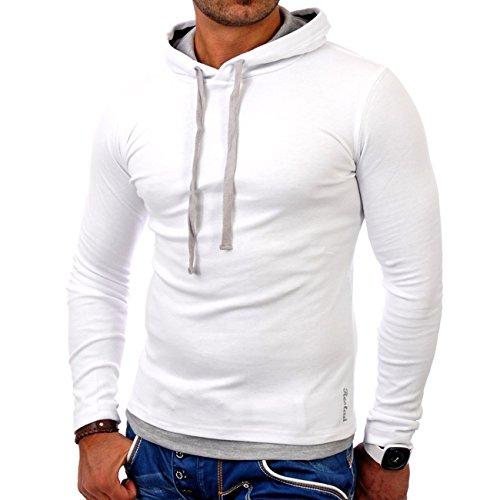 Reslad Herren Pullover Kapuzenpullover Sweatshirt Sweater Pulli Hoodie RS-1003 Weiß-Grau