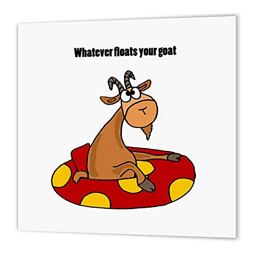 3dRose ht_200085_2 Funny Goat in Inner Tube Says Whatever Floats Your Goat Iron on Heat Transfer for White Material, 6 x 6