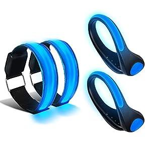 HEAWAA 2 Stück LED Armband und 2 Stück LED Schuh Clip, Hell Leuchtendes Reflective Nacht Sicherheits Licht für Laufen Joggen Running Outdoor Sports
