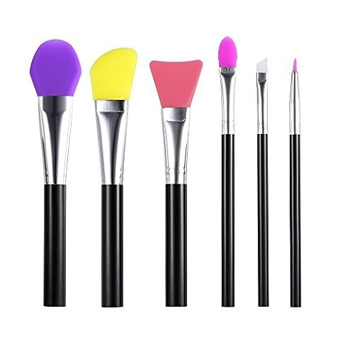 Anself 6St Make-up Pinsel Kit Silikon Gesichtsmaske Lidschatten Augenbraue Pinsel Set
