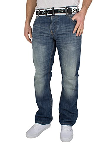 CrossHatch Herren Wak Straight Leg Jeans, Blau, 38W x 34L