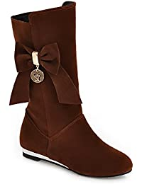 Ladies Color Matching Water Table Spun Gold Bowknot Heighten Inside Frosted Boots