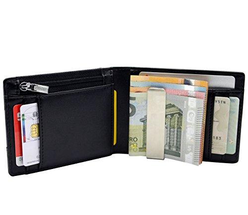 RESOR Kreditkartenetui (schwarz) mit Geldklammer und Münzfach & RFID-Schutz - 8 Kartenfächer - inklusive edler Geschenkbox - Herren Slim Wallet perfekt zum Reisen (Die Elektronische Geldbörse)