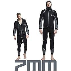 FAY Combinaison néoprène en néoprène pour Homme 7MM, Combinaison monopièce pour la plongée en Hiver Combinaison Chaude pour la plongée sous-Marine Plongée en apnée Surf Peau de Spearfishing,XXXXL