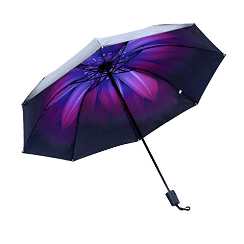 Mengonee A Prueba de Viento Plegable Paraguas Muchachas de Las Mujeres de los Hombres UV sombrilla Paraguas de la Lluvia Negro Pegamento Parasol Ultravioleta-Prueba Decoración