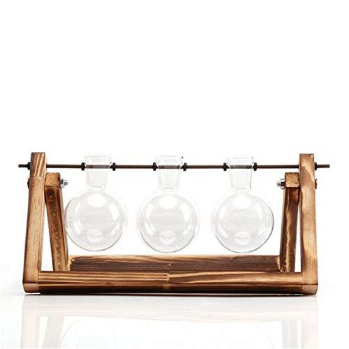 GETSO Glas und Holz Vase Planter Terrarium Tabelle Desktop-Hydroponik Pflanze Bonsai Blumentöpfe hängend Töpfe mit Holztablett Wohnkultur: Triple-Flasche -