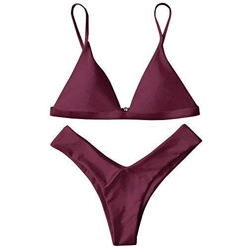 ZAFUL Damen Sport Push-Up Wickeln Bikini Sets Bademode Badeanzug Swimwear Swimsuit Burgund M