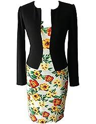 Good dress Un mosaico falso dos vestidos de traje flores,Amarillo,XL