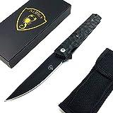 AUBEY Tanto Klappmesser Outdoor Einhandmesser Angel Survival Messer Scharf Jagdmesser EDC Pocket Knife mit Gürtelclip Glasbrecher (Schwarz)