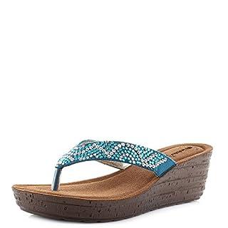 INBLU Womens GM-21 Aquamarina Wedge Heel Comfort Embellished Sandals Size 5