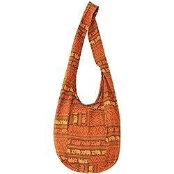 Your Cozy Hippie Bags Crossbody Bolsa de algodón hecha a mano para unisex (Rust)