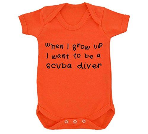 When I Grow Up I Want To Be A Design Scuba Diver BABY BODY ORANGE mit SCHWARZ Print Gr. 68, Orange