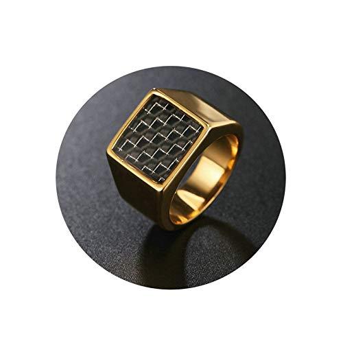 Amody Gothic Rings Knuckle 14,5 MM Quadrat Kohlenstofffaserring Gold Retro Gothic Edelstahl Band Ringe Größe 62 (19.7)