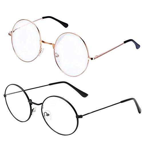 Retro Metall Frame Runde Brille, 2 Stück Klassischer Unisex Transparente Gläser, Auge Brillen Frame mit Gewöhnliche Brillengläser (Gold + Schwarz)