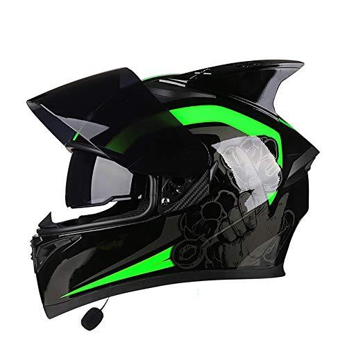 VEVE Motorrad Vier Jahreszeiten Bluetooth Headset Integralhelm Bunte Linse Doppelobjektiv Mode Atmungsaktive Ecke Reithelm Sicher, warm und modern (Farbe : Have Corner, Size : XXXL)