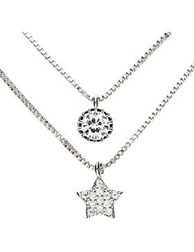 MYA art Damen Halskette Collier 925 Sterling Silber Doppel Mehrreihige Zwei Kette Stern mit einem Solitär Stein...