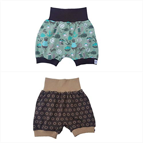 MyLeeni, kurze Pumphose, Sommerhose, kurze Hose, Shorts, Sterne, Anker, maritim, Gr. 98/104, grün, braun, Junge