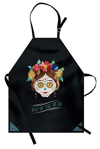 ABAKUHAUS Tag der Toten Kochschürze, Hispanischen Urlaub La Calavera de la Catrina inspiriert Frisur und Make-up, Farbfest Höhenverstellbar Waschbar Klarer Digitaldruck, ()