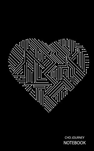 CHD Journey Notebook: White Circuit Board Heart, Black Background, Journal, 5 in x 8 in, 50 sheets / 100 pages, college lined -