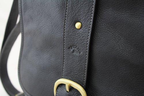 Borsa a tracolla in pelle di vacchetta, Katana grassi 32901 K nero