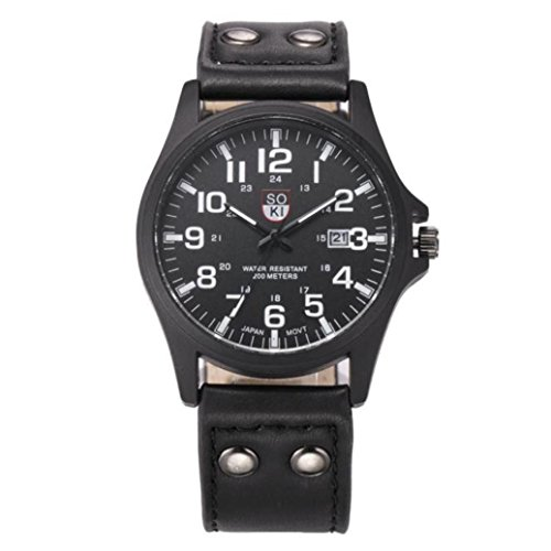 Valentinstag Uhren Dellin Vintage Classic Herren wasserdicht Datum Lederband Sport Quarz Army Watch (Schwarz)