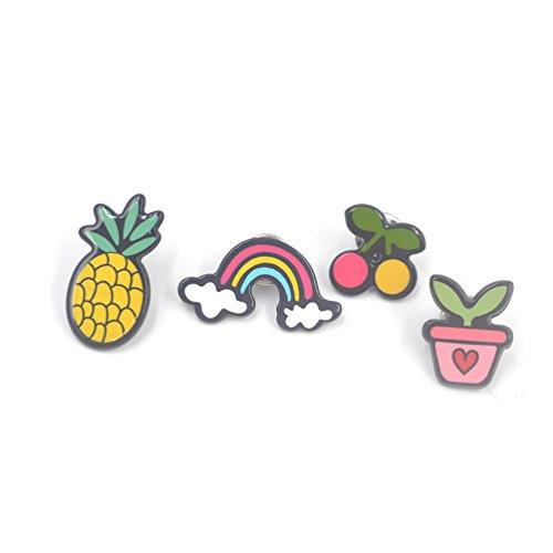 Lychee 1 Set Spilla Pin Colletto della Camicia Bavero Fibbia Consigli Forma di Ananas Arcobaleno Ciliegia Pianta 4 Pezzi