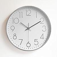 Reloj de pared moderno, Foxtop 12 pulgadas grandes decorativos Silencioso interior reloj de cuarzo de cuarzo redondo No-ticking para sala de estar Cocina de oficina (plata)