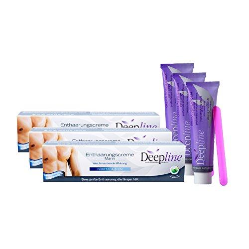 Deepline Haarentfernungscreme 3er Sparpackung für den Mann. Hält die Haut sanft, geschmeidig und glatt auch für den Intimbereich. …