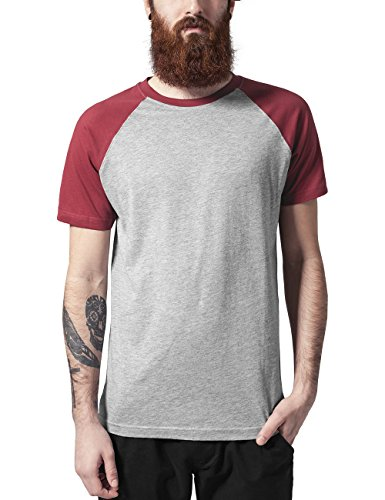 Urban Classics TB639 Herren T-Shirt Raglan Contrast Tee, Mehrfarbig (Gry/Ruby 566), X-Large (Standard Fit T-shirt)