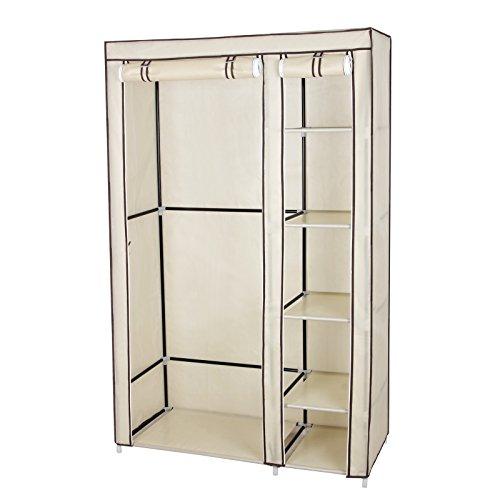 Songmics armadio cabina guardaroba appendiabiti in acciaio tessuto beige 175 x 110 x 45 cm lsf007m