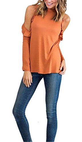 Frauen reizvolle trägerlose lange Hülsen-Lotos-Blatt-Normallack Slim Fit T-Shirt Bluse Orange