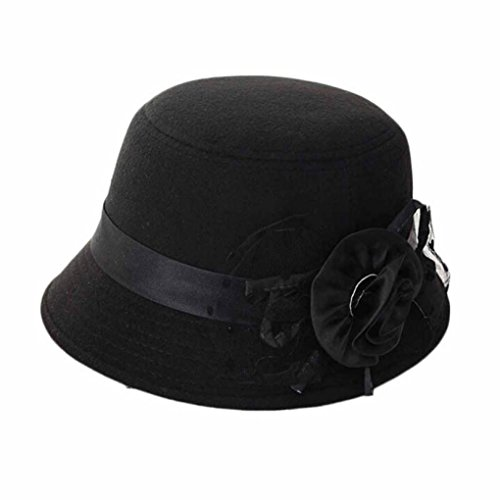 Koly Women Party Travel Retro Floral Bowler Solid Color Fedora Hat Bowler Caps Test