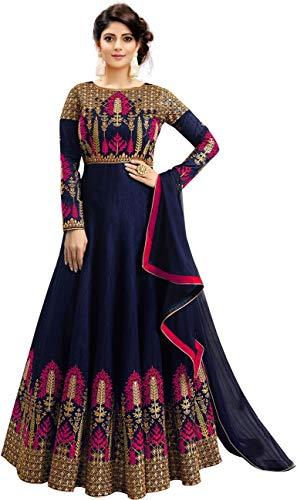 Fast Fashions Women's Embroidered Phantom Slik Semi Stitched Anarkali Gown (Pink_Free Size)