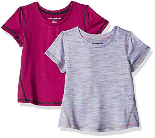 Amazon Essentials Mädchen-Kurzarmshirt Active, 2er-Pack, Mehrfarbig (Fuchsia/Purple Spacedye), US 4T (EU 104-110)