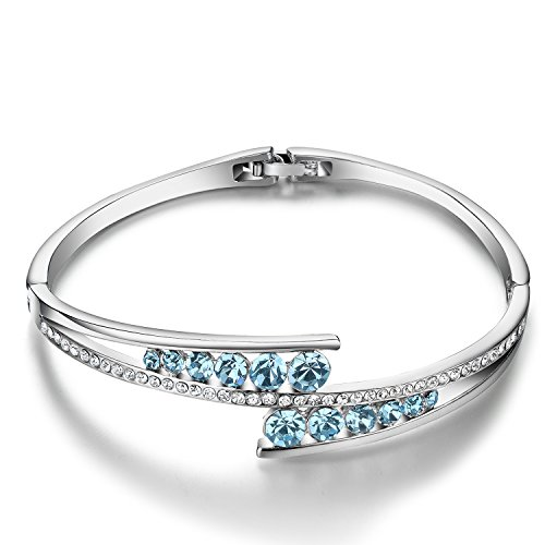 g Mit Der Liebe Damen Armband Swarovski Elements Kristall Weiß vergoldet Verstellbarer Armreif Eleganter Schmuck für Frauen mit Geschenkbox ()