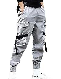 Pantaloni Cargo Uomo,Momoxi Pantaloni Tasca Pantaloni Uomo Lunghi Cargo con Coulisse Tasche Laterali Trousers della di Hip Hop Adolescenti e Giovani Ragazzi