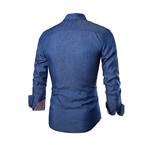 Herren Slim Fit Freizeit Hemd Basic Dunkel Blau