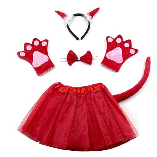 Lovelegis Teufel Kostüm Set Dämon - für Mädchen - Tutu - Stirnband - Handschuhe - Fliege - Schwanz - Halloween Carnival Disguise Disorder - (Dämon Kostüm Mädchen)