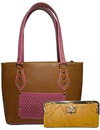 Double Colour Contrast Shoulder Handbag | Brown & Purple Colour | For Women | (Tan Colour Clutch Free) | By AZED...