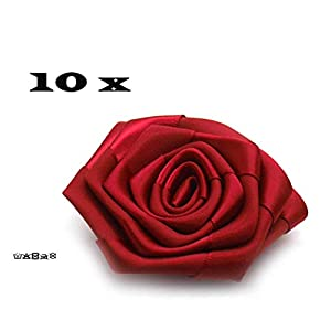 10 x Satin Stoffrosen rot 7 cm Hochzeitsdeko 1,99€/St.