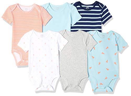 Amazon Essentials 6-Pack Short-Sleeve Bodysuit infant-and-toddler-layette-sets, Boy Nautical, 3-6M - Eine Infant Bodysuit