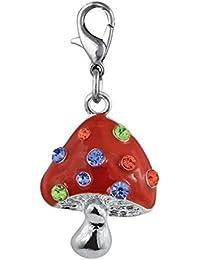 ENT Encanto rojo de setas con brillo de color - art. EL28072 - Lon. 4 cm - Anc. 2,5 cm - Alt. 0,3 cm - Ten by Varotto & Co.