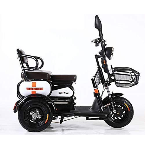 AA100 Elektro 3 Rad Fahrrad Doppel Single Senioren Outdoor Reise Mobil Roller 48V20A Lithium Batterie + Fernschlüssel Alarm,White (E Räder Elektro-dreirad)