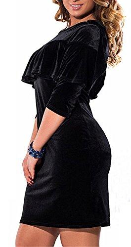 Femme Robes De Soirée Grande Taille Chic Vintage Courte Simple Elegante Manches 3/4 Robes D'Été Moulante Classiques Robes Habillées Noir