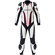 Motorbike Leather Racing Suit Spyke Top Sport Mix Kangaroo 1Pc for Men-White/Black/Red-EU 52 L / UK 42 L / US 42 M