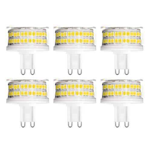 YWX G9 LED Lampen,9W ersetzt 90W Halogenlampen 900Lm Kein Flackern Naturweiß 4000K 360° Abstrahlwinkel Hohe Helligkeit Dimmbar G9 LED Leuchtmittel Birne AC 220-240V 6er Pack [Energieklasse A++] - 90w Led