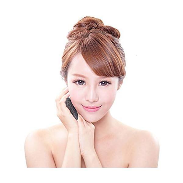 Ndier Konjac Esponja bambú activado Charcoa hemisférica forma de esponja de limpieza exfoliante facial de belleza Esponjas para hombre de las mujeres 3pcs