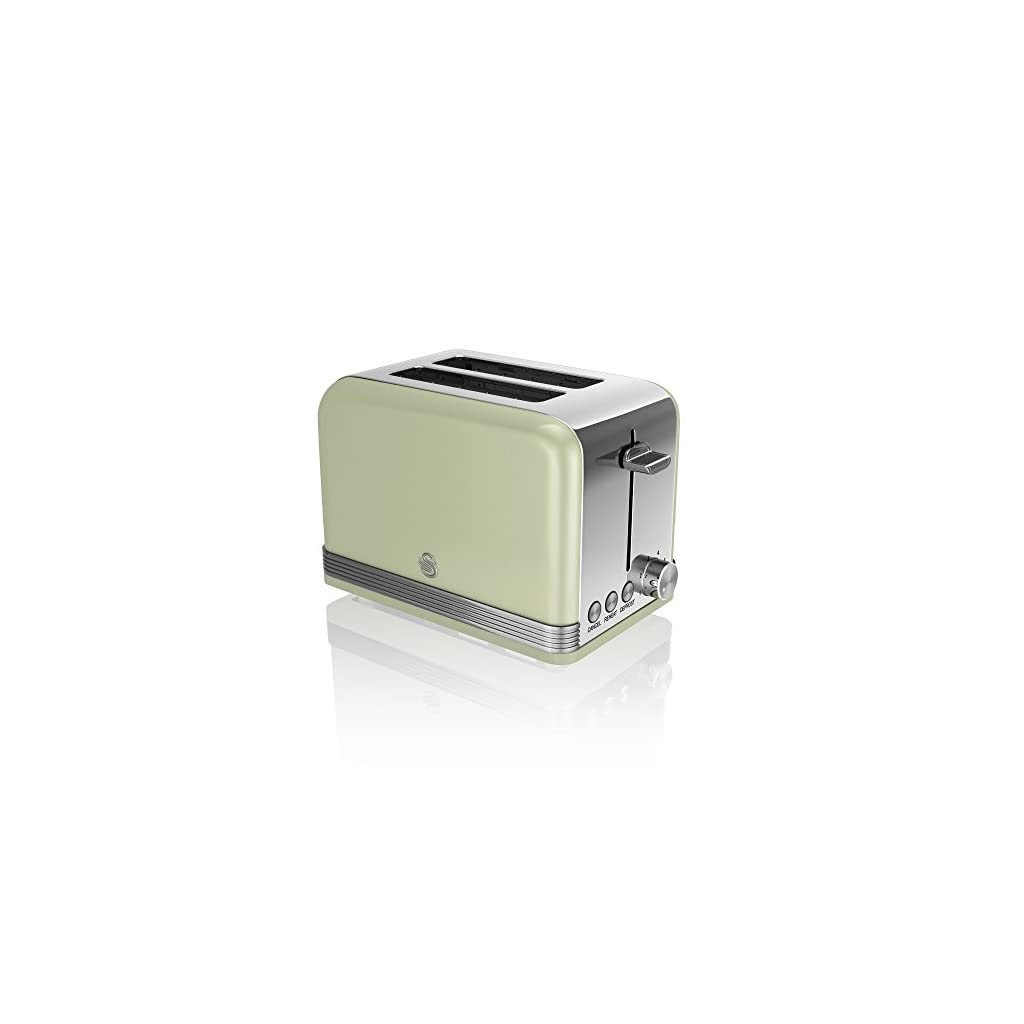 Swan ST19010GN 2-Slice Retro Toaster, 815 W, Green