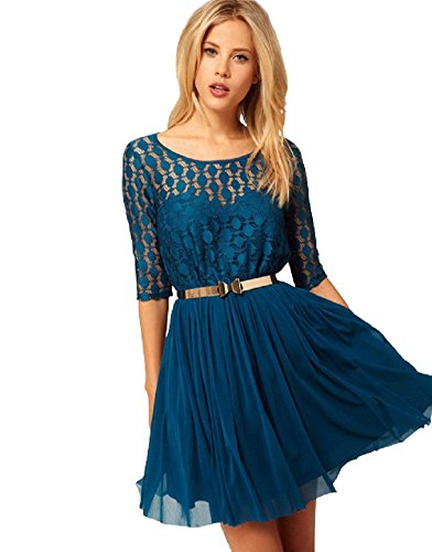 BOMOVO Fraun Sommer Drucken Retro Vintage Feierliche Anlässee Evening Kleider Blau